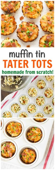 Baked, not fried homemade tater tots a mini muffin pan. GENIUS recipe with cheese and bacon. Say goodbye to those frozen bags of tater tots. This homemade version is so easy and way better than store-bought! Step by step recipe and video at wellplated.com @wellplated