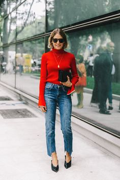 Red sweater, 7famk jeans margela black shoes