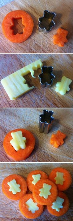 """Cheese & Carrot """"Coins"""" made with mini cookie cutters. If you want kids to eat more veggies then make it fun. These coins would be good for snacks or lunchboxes. Also use for cucumbers, watermelon, cantaloupe, toast. Carrot Coins Recipe, Lunch Snacks, Healthy Snacks, Fruit Snacks, Party Snacks, Bento Box Lunch For Kids, Fruit Appetizers, Snacks Kids, Lunch Boxes"""