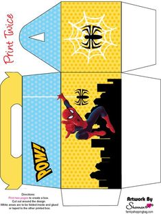Spiderman printables including invitations, coloring pages and Birthday Favors, 4th Birthday Parties, 3rd Birthday, Batman Party, Superhero Party, Avengers Birthday, Favor Boxes, Favor Favor, Box Patterns