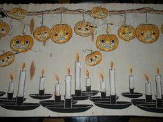 Vintage Halloween Ephemera ~ Crepe Paper Banner w/ Candles and a Garland of Jack O' Lantern's