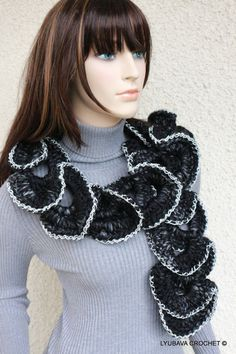Crochet Ruffle Scarf Chunky Black Scarf Chunky by crochetlyubava, $40.00