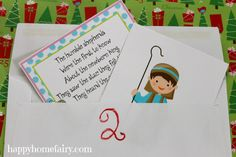 FREE Printable 12 Days of Christmas Poem and Nativity cards at happyhomefairy.com! card 12, printables, christmas, nativ free, nativ card, christma project, free printabl, cards, nativity