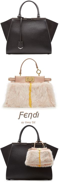 Emmy DE * Fendi Leather Mini 3Jours Tote & Fendi Micro Peek-A-Boo Leather Tote with Mink Fur