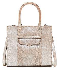 NWT Rebecca Minkoff Mini Mab Tote Silver Satchel Handbag Purse Leather #RebeccaMinkoff #TotesShoppers