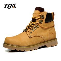 TBA High-top British Winter Lace Up Ankle Martin Boots Fashion Men's Genuine Leather Casual Shoes Comfortable Breathable Flats