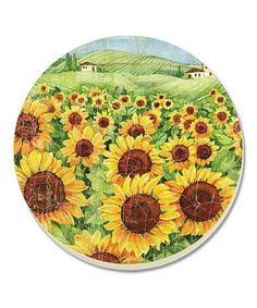 Sunflower Field Coaster - Set of Four #zulily #zulilyfinds