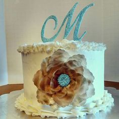 Wedding cake. Fondant topper and wafer paper flower.