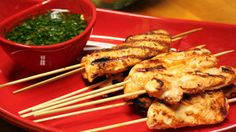 Herb Chicken Kebobs with Chimichurri.