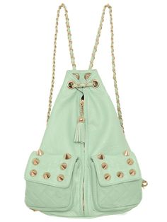 Dion Spiked Backpack - Mint - Accessories | GYPSY WARRIOR