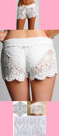 New diy summer shorts crochet lace Ideas Diy Lace Shorts, Shorts Crochet, Diy Crochet Bikini, Crochet Skirt Pattern, Crochet Skirts, Pants Pattern, Crochet Clothes, Crochet Lingerie, Knit Shorts
