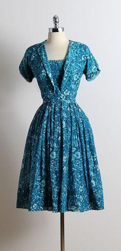 ➳ vintage 1950s dress and bolero * blue floral print cotton * cotton lining * loop trim accents * matching bolero * metal back zipper