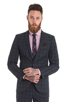 Moss London Slim Fit Red Check 3 Piece Suit | suits n stuff ...