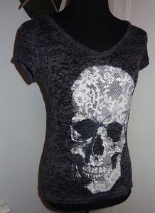 Ladies Punk Rocker Hot Topic Skull shirt - Burnout Material size M/L Totally <3 !