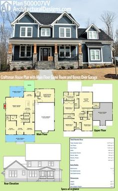 Architectural Designs Craftsman House Plan 500007VV has a sturdy front porch with stone and timbers. Inside you get 4 to 5 beds, a main floor game room and a bonus room over the garage. Over 3,200 square feet of heated living space. Ready when you are. Where do YOU want to build?
