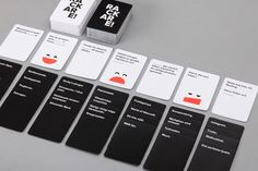 "Rackare is a Swedish adaptation of the (in)famous party game ""Cards Against Humanity"". After a few alterations to the gameplay and loads of new cards written and tested the guys over at Ninja Print asked me to give it a look of its own.The very appropri…"