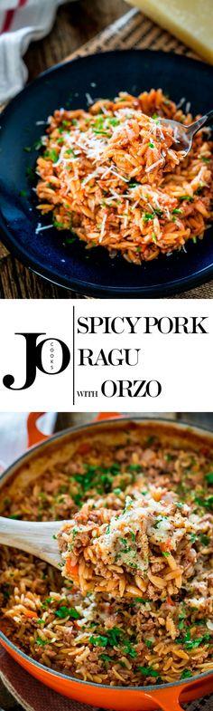One Pot Spicy Pork Ragu with Orzo