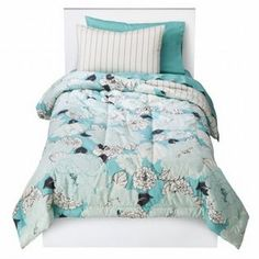 -Room Essentials Twin XL Bed in a Bag Blue Floral Comforter Set Sheets Shams 5 pc