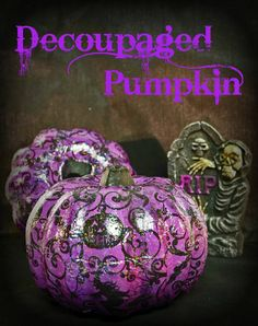It's amazing how many ways there are to decorate pumpkins, don't you think? While decoupage isn't anything new, I loved using these purple Halloween napkins to… Purple Halloween, Holidays Halloween, Halloween Crafts, Happy Halloween, Halloween Decorations, Halloween Ideas, Fall Decorations, Modern Halloween, Halloween Queen