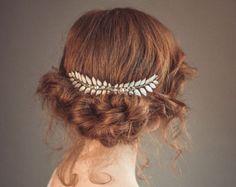 Bridal hair comb Gold leaf hair comb Leaf hair piece Grecian