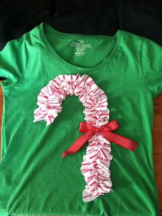 christmas candy cane ruffle shirt. copied the idea from one I saw in the CWD kids catalog