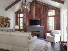 love the vintage red barn wood wall, plank ceiling & beams ~ from Wendy Posard & Associates Barn Siding, Wood Siding, Wood Flooring, House Siding, Old Barn Wood, Reclaimed Barn Wood, Barn Board Projects, Wood Projects, Barn Board Wall