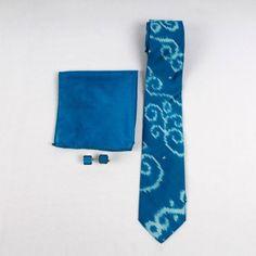 Agreeable Azure Ikat Silk Tie Set