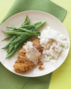 Country-Fried Steak with Green Beans and Rice - Martha Stewart Recipes