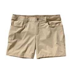 Made of a stretch-woven 96% nylon/4% spandex fabric with a DWR (durable water repellent) finish, these lightweight shorts perform in or out of water and provide 40-UPF sun protection. Inseam is 5\