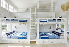 White and blue nautical style boys' bunk room