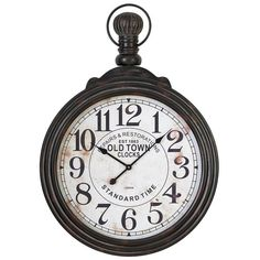 Oversized numerals and a pocket watch-inspired silhouette give this metal wall clock a vintaged look, while its distressed finish offers timeworn appeal.