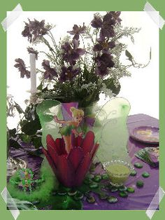 tinkerbell centerpiece...of course we need flowers at a birthday party