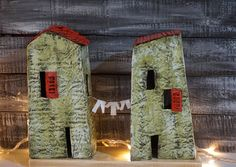 A Pair of Little Paper Houses Paper Mache Houses by irineART