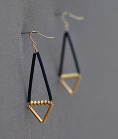 Hardware Earrings Black and Gold Geometric. $24.00, via Etsy.