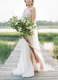 Organic rustic wedding bouquet: http://www.stylemepretty.com/south-carolina-weddings/charleston/2016/09/15/southern-fall-wedding-inspiration-in-charleston/ Photography: Heather Waraksa - http://heatherwaraksa.com/