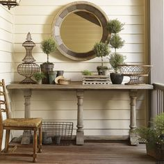 Love the legs on this console table.  Nice on the porch.  I have legs like this...
