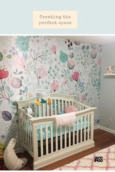 Customer photo of the fairy Botanical Tale Floral Wall Mural  - beautiful and fresh decor for her baby nursery. Nursery Wall Murals, Nursery Room, Girl Nursery, Nursery Decor, Floral Wall, Floral Motif, Free Prints, Wall Prints, Teal Girls Rooms