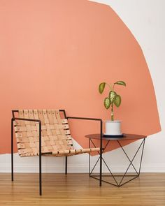 Rod+Weave Chair Seating: Chair by Eric Trine: Rod+Weave chair and octahedron side table. Murs Oranges, Coral Walls, Peach Walls, I Spy Diy, Woven Chair, Color Of The Year, Colorful Interiors, Scandinavian Interiors, Interior Inspiration