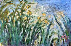 Yellow Irises and Malva, 1917 by Claude Monet. Impressionism. flower painting