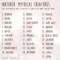 """6,839 Likes, 94 Comments - Katie (@elentori) on Instagram: """"#inktober is tomorrow! Feel free to use this list ❤️ and tag #eletober if you do I'd love to see…"""""""