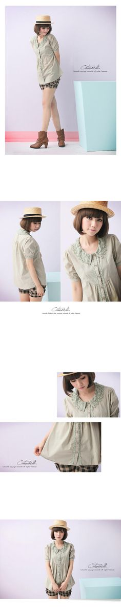YESSTYLE: CatWorld- Lace-Collar Pleated Blouse - Free International Shipping on orders over $150