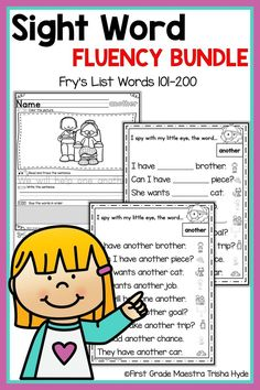 Your Kindergarten and First Grade Students will learn to read their Fry List Sight words with these no prep printable Fluency Sentence activities. Your students will enjoy learning sight words with these Printable fluency sentences, worksheets, a Learning Sight Words, First Grade Sight Words, 2nd Grade Reading, Guided Reading, Reading Intervention, Reading Skills, Word Study, Word Work, Beginning Of Kindergarten