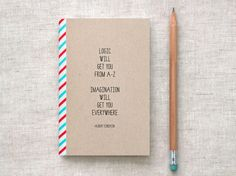 Handmade mini journal with an inspirational quote by Einstein.
