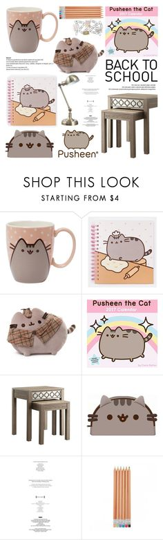 """Back to School With Pusheen"" by helenevlacho ❤ liked on Polyvore featuring interior, interiors, interior design, home, home decor, interior decorating, Gund, Pusheen, Office Star and Philippi Design"
