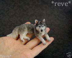 OOAK Realistic Handmade ~ Husky Dog ~ Miniature Dollhouse 1:12 Sculpture