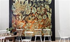 """Elitis Toison d'or mosaic floral print panoramic mural wallcovering / wallpaper.  Sold by 3 panels of 39"""" width X 118"""" height roll"""