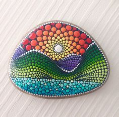 Big Dot Art Sunrise Painted stone painted rock Fairy garden marker decoration stone art dotilism blue
