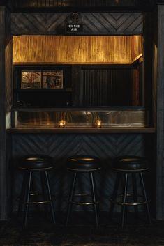 hotel bar A Dingy L. Dive Becomes a Hip Bar, Hotel, and Music Studio Complex Dark Restaurant, Woods Restaurant, Restaurant Design, Wood Cafe, Cafe Interior, Interior Design, Interior Paint, Interior Ideas, Design Design