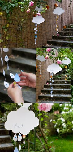 "Use as decoration for ""baby shower"" - clouds & raindrops Baby Sprinkle, Sprinkle Shower, Baby Shower Games, Baby Boy Shower, Organiser Une Baby Shower, Noahs Ark Party, Cloud Party, Rainbow Baby, Shower Party"