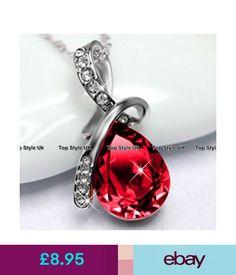 Fine Necklaces & Pendants Tear Diamond Necklace Ruby Pendant Silver Jewellery Xmas Presents For Her Mum D4 #ebay #Fashion